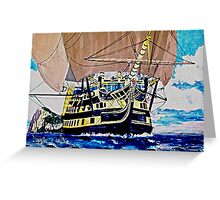 HMS Victory en route to the Battle of Trafalgar 1805 Greeting Card
