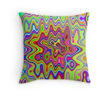 Psychedelic Glowing Colors Pattern Throw Pillow