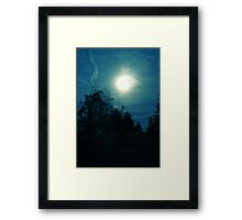 Moon with Contrail Framed Print
