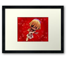 Cupid girl on red background Framed Print