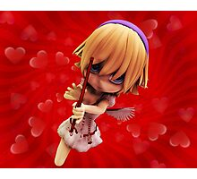 Cupid girl on red background Photographic Print