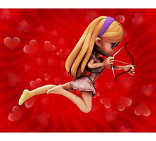 Cupid girl on red background 2 Photographic Print