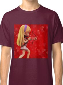 Cupid girl on red background 3 Classic T-Shirt
