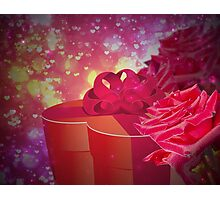 Gift box and roses Photographic Print