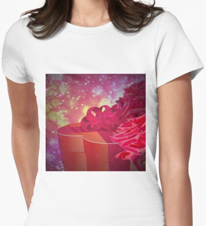 Gift box and roses Womens Fitted T-Shirt