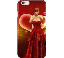 Girl in red dress blow heart iPhone Case/Skin
