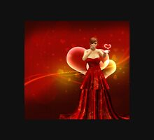 Girl in red dress blow heart Womens Fitted T-Shirt