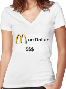 Mc Dollar $$$ Women's Fitted V-Neck T-Shirt