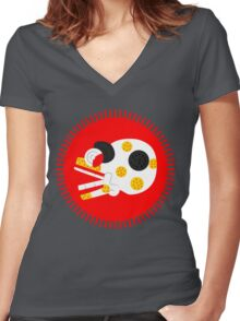 Aztec skull V2 Women's Fitted V-Neck T-Shirt