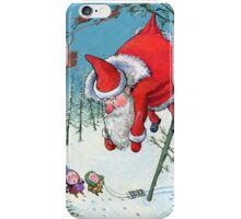 Santa haning on the tree. Christmas Card and more. iPhone Case/Skin