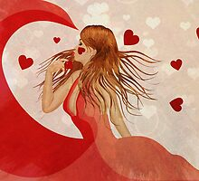 Girl in red dress with hearts by AnnArtshock