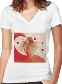 Girl in red dress with hearts Women's Fitted V-Neck T-Shirt