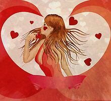Girl in red dress with hearts 2 by AnnArtshock