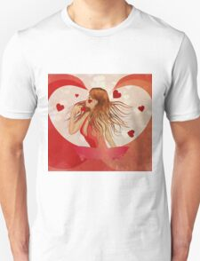 Girl in red dress with hearts 2 Unisex T-Shirt