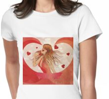 Girl in red dress with hearts 2 Womens Fitted T-Shirt