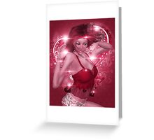 Girl on pink floral background Greeting Card