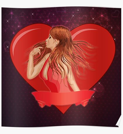 Girl with ribbon and big heart Poster