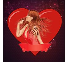 Girl with ribbon and big heart Photographic Print