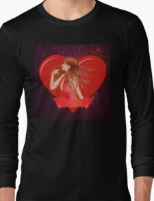Girl with ribbon and big heart Long Sleeve T-Shirt