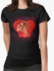 Girl with ribbon and big heart Womens Fitted T-Shirt