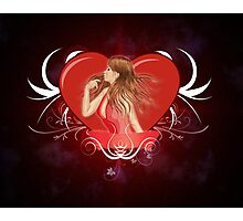 Girl with ribbon and big heart 2 Photographic Print