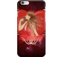Girl with ribbon and big heart 2 iPhone Case/Skin