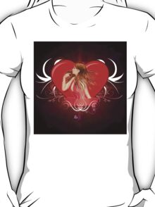 Girl with ribbon and big heart 2 T-Shirt