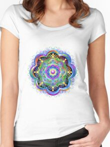 Mandala Psychedelic Art Design Women's Fitted Scoop T-Shirt