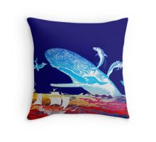 Moby Dick and the Red Sea Throw Pillow