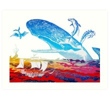 Moby Dick and the Red Sea Art Print