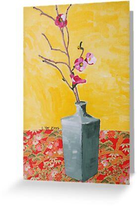 cherry blossum in vase by Libby Yee