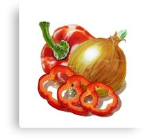 Bell Pepper And Onion Canvas Print