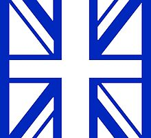 BRITISH, UNION JACK, UK, FLAG, PORTRAIT IN WHITE ON BLUE by TOM HILL - Designer