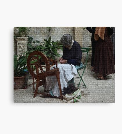 From the past (4 of 4) - Weaving the wool Canvas Print