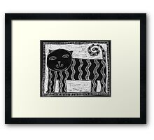 Black and White Stripey Cat Framed Print