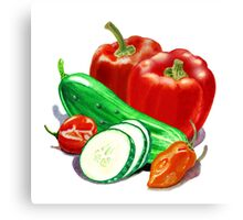 Peppers And Cucumbers Canvas Print