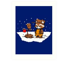A Groovy Racoon Christmas Art Print