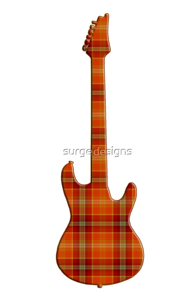 Plaid Electric Guitar Silhouette by surgedesigns
