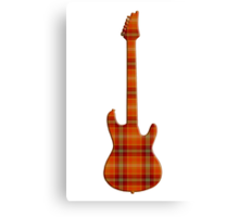 Plaid Electric Guitar Silhouette Canvas Print