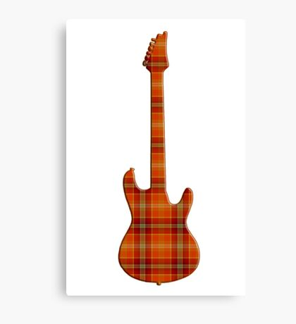 Plaid Electric Guitar Silhouette Canvas Print