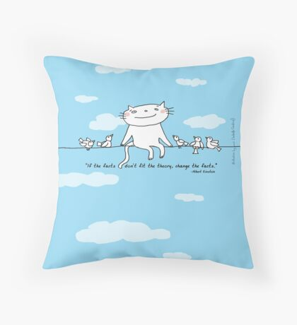 Einstein quote 'If the facts don't fit the theory...' / Cat doodle Throw Pillow