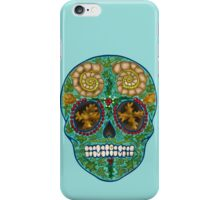 Winter skull, holly king- turquoise iPhone Case/Skin