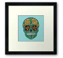 Winter skull, holly king- turquoise Framed Print