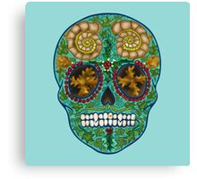 Winter skull, holly king- turquoise Canvas Print