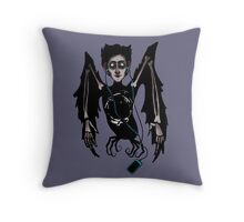 Alkonost with headphones Throw Pillow