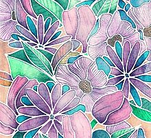 Blossoming - lilac, mint & aqua by Perrin Le Feuvre