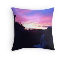 Sunset Girl Throw Pillow