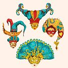 Venetian mask vintage set colored and  isolated on the white background by Maryna  Rudzko