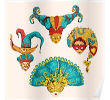Venetian mask vintage set colored and  isolated on the white background Poster