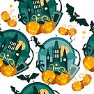 Vector halloween flat graphic banner with pumpkins and bat by Maryna  Rudzko